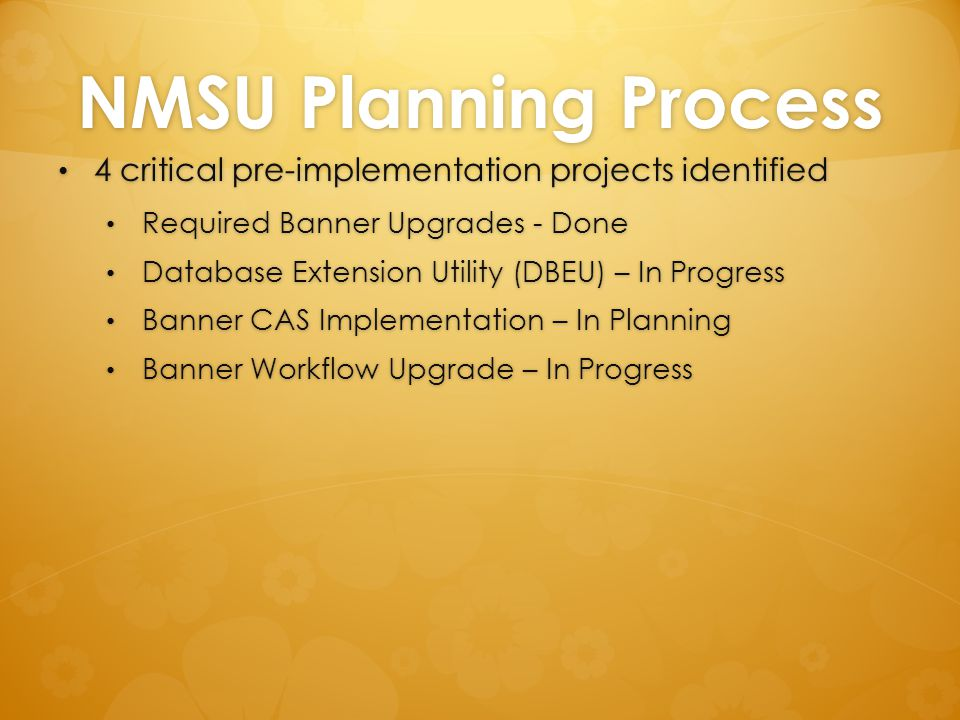 NMSU Planning Process 4 critical pre-implementation projects identified. Required Banner Upgrades - Done.