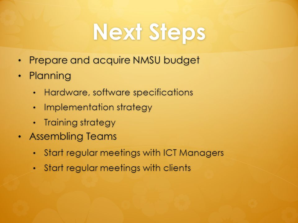 Next Steps Prepare and acquire NMSU budget Planning Assembling Teams