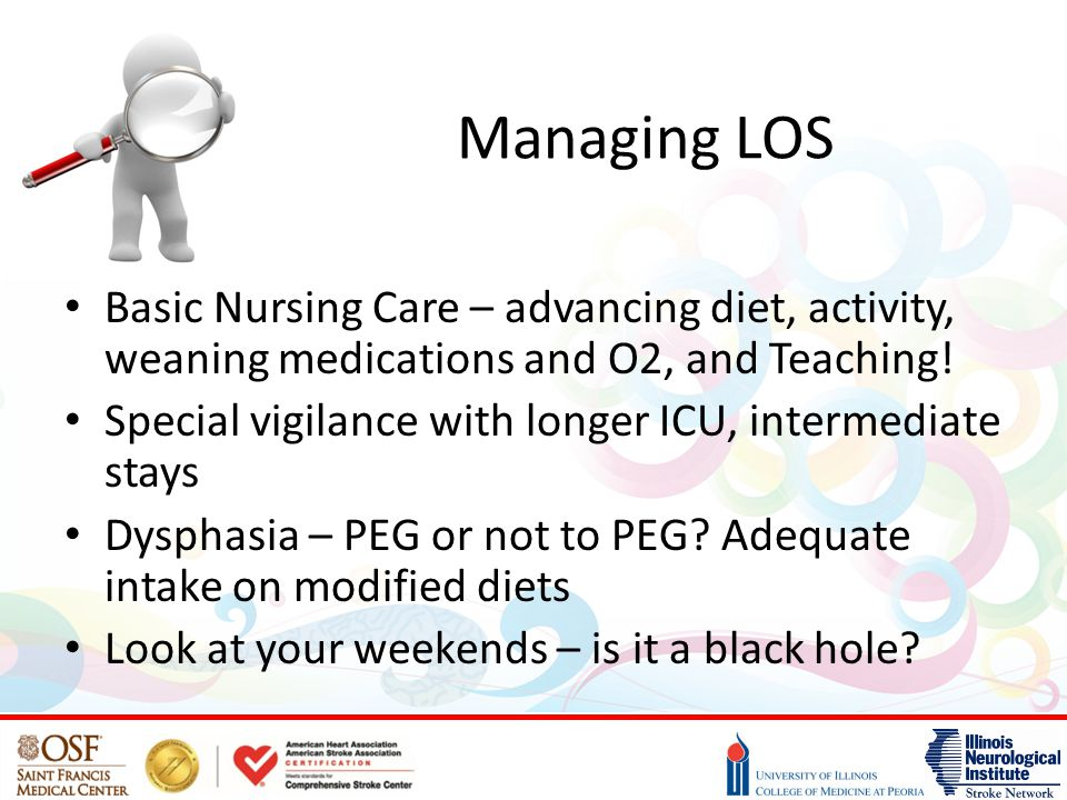 Managing LOS Basic Nursing Care – advancing diet, activity, weaning medications and O2, and Teaching!