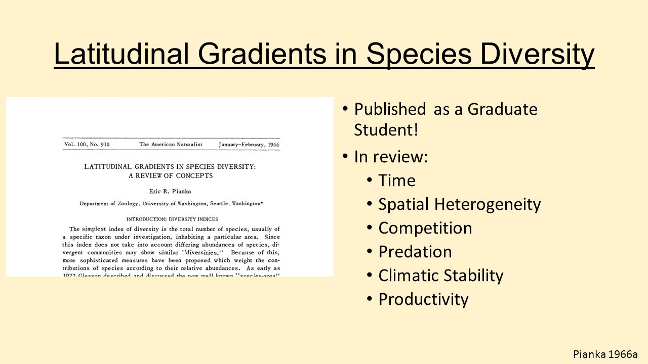 Latitudinal Gradients in Species Diversity