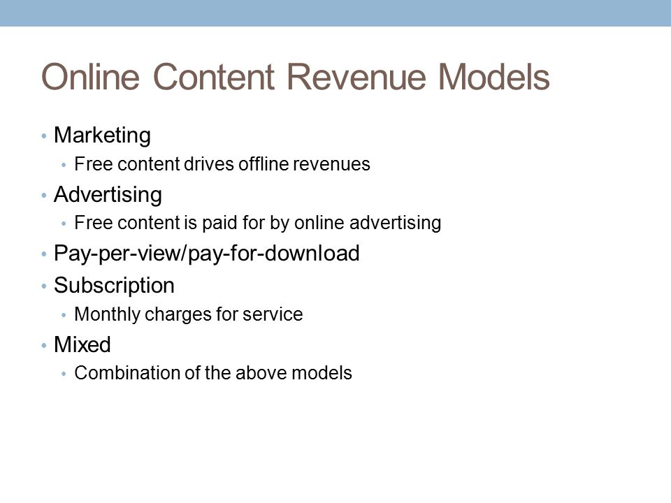 Online Content Revenue Models