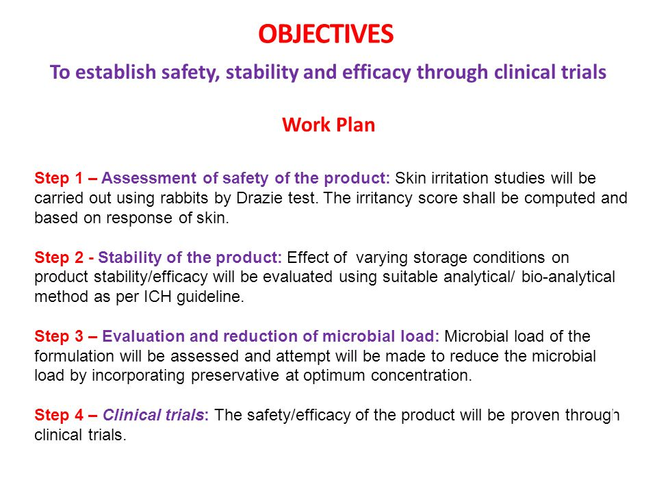 To establish safety, stability and efficacy through clinical trials
