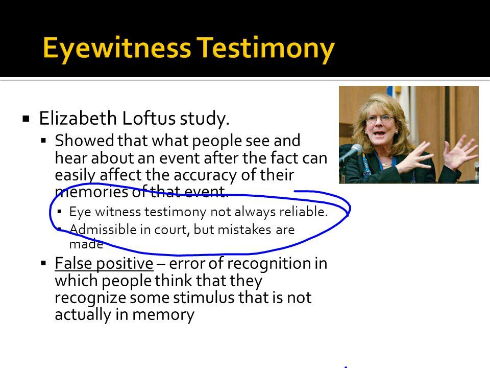 Eyewitness Testimony Elizabeth Loftus study.