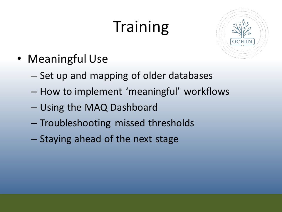 Training Meaningful Use Set up and mapping of older databases