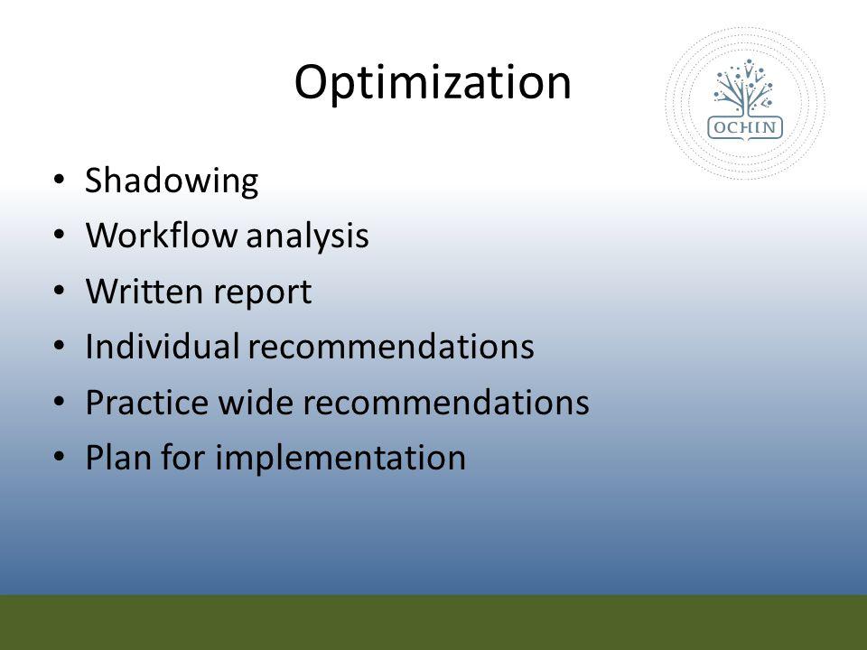Optimization Shadowing Workflow analysis Written report
