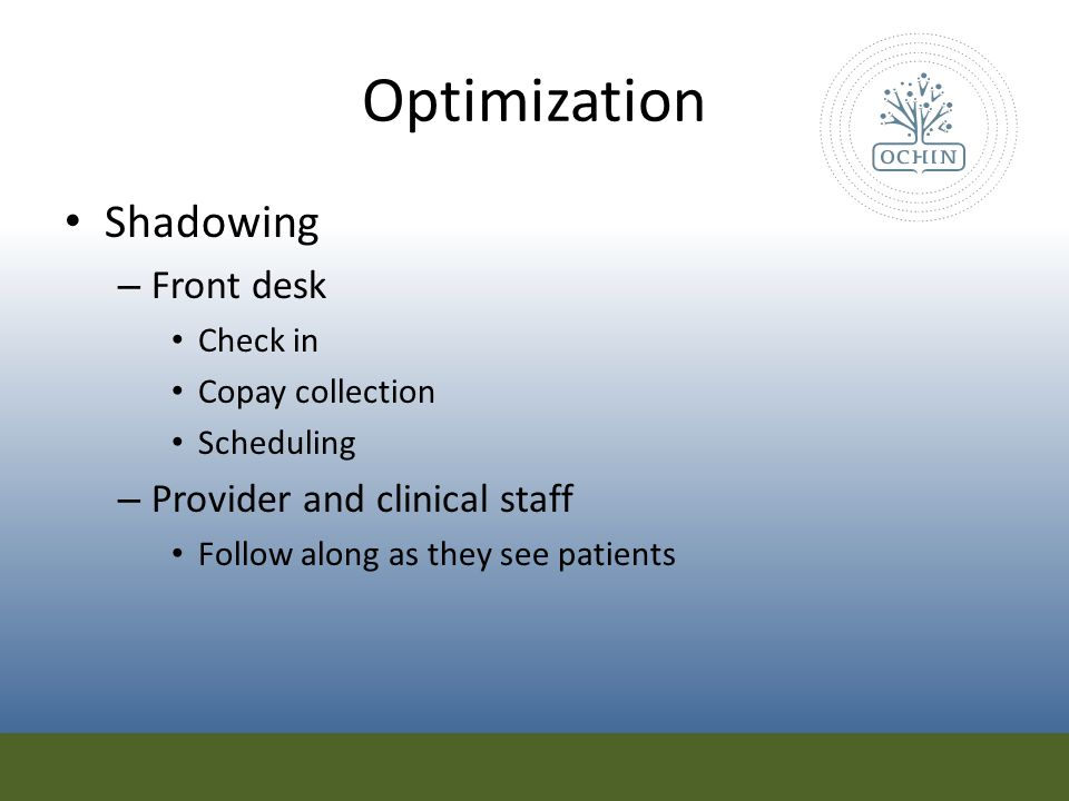 Optimization Shadowing Front desk Provider and clinical staff Check in