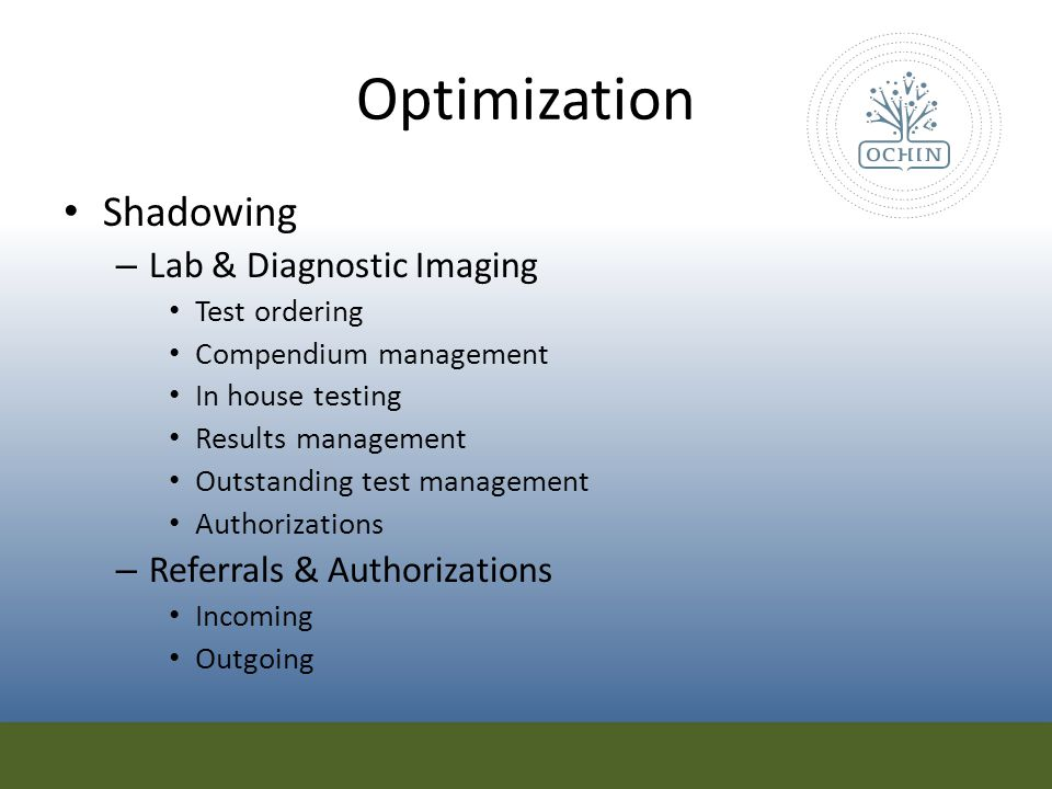 Optimization Shadowing Lab & Diagnostic Imaging