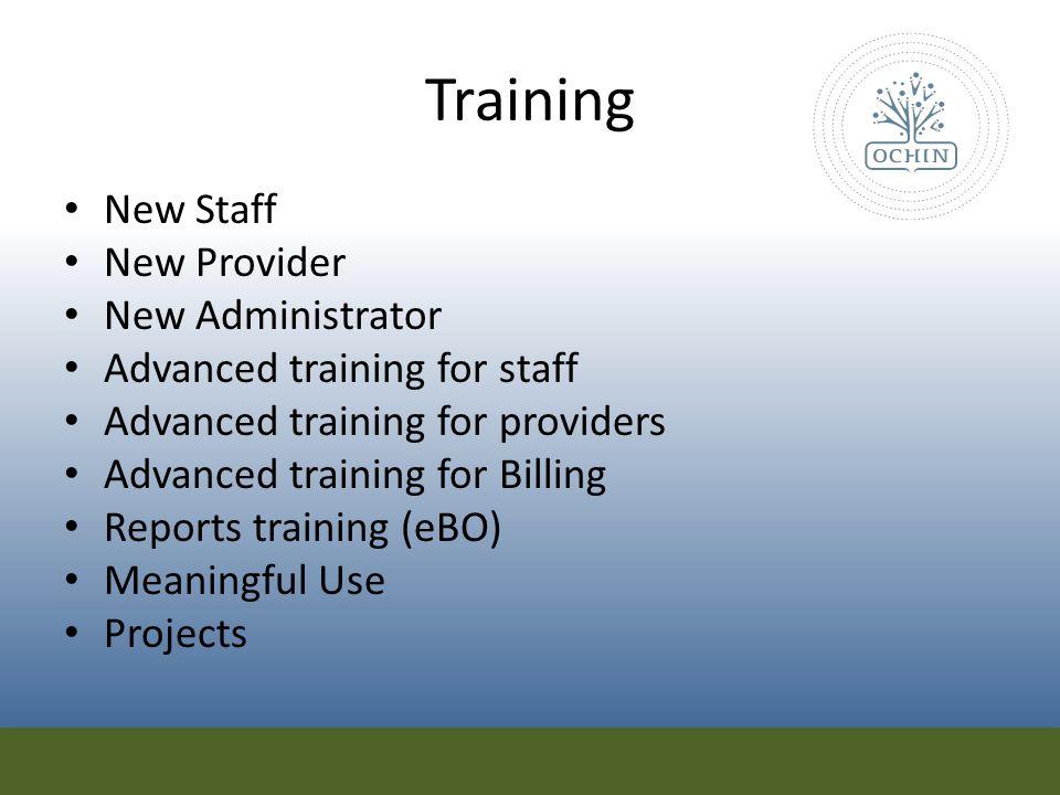 Training New Staff New Provider New Administrator