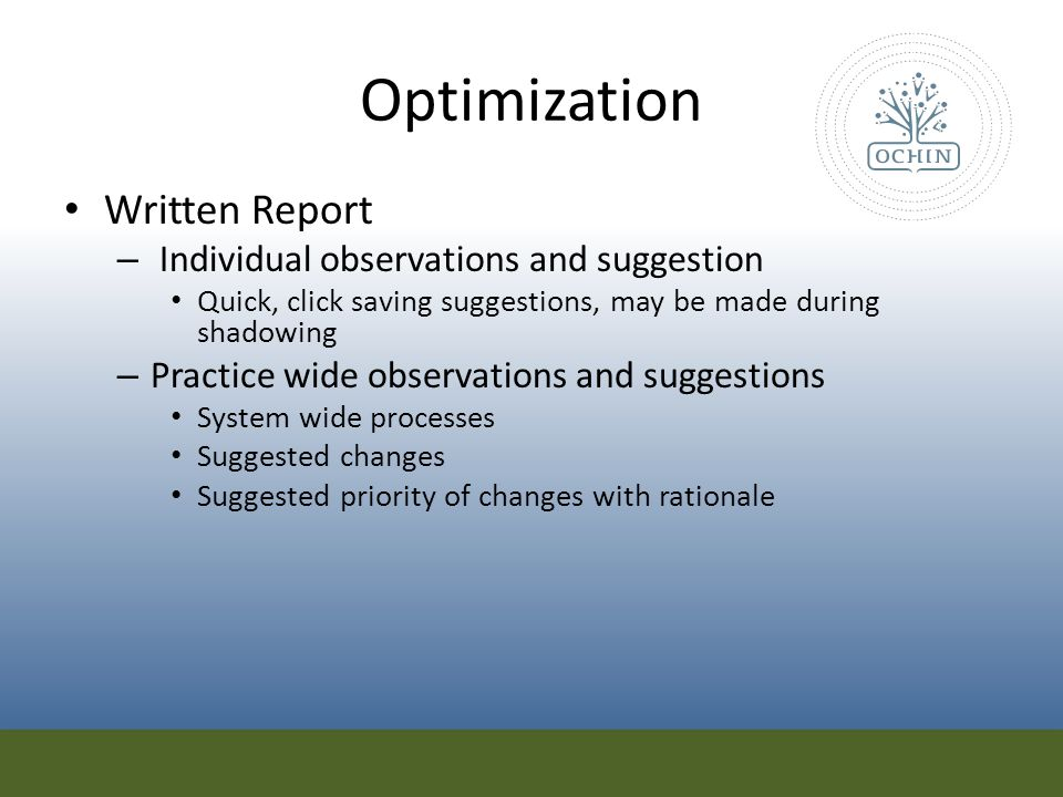 Optimization Written Report Individual observations and suggestion