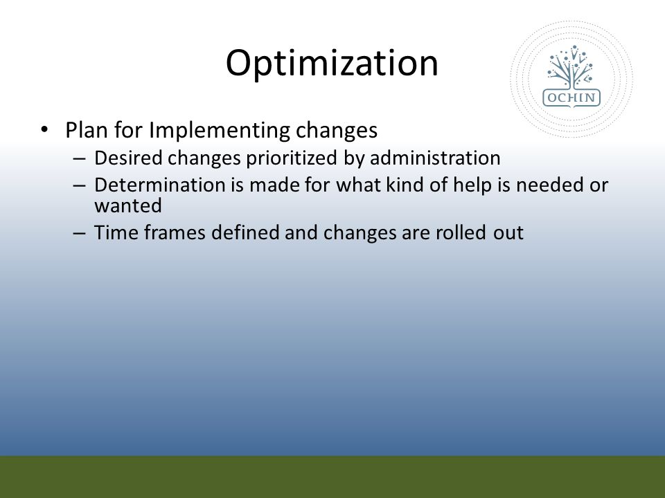 Optimization Plan for Implementing changes
