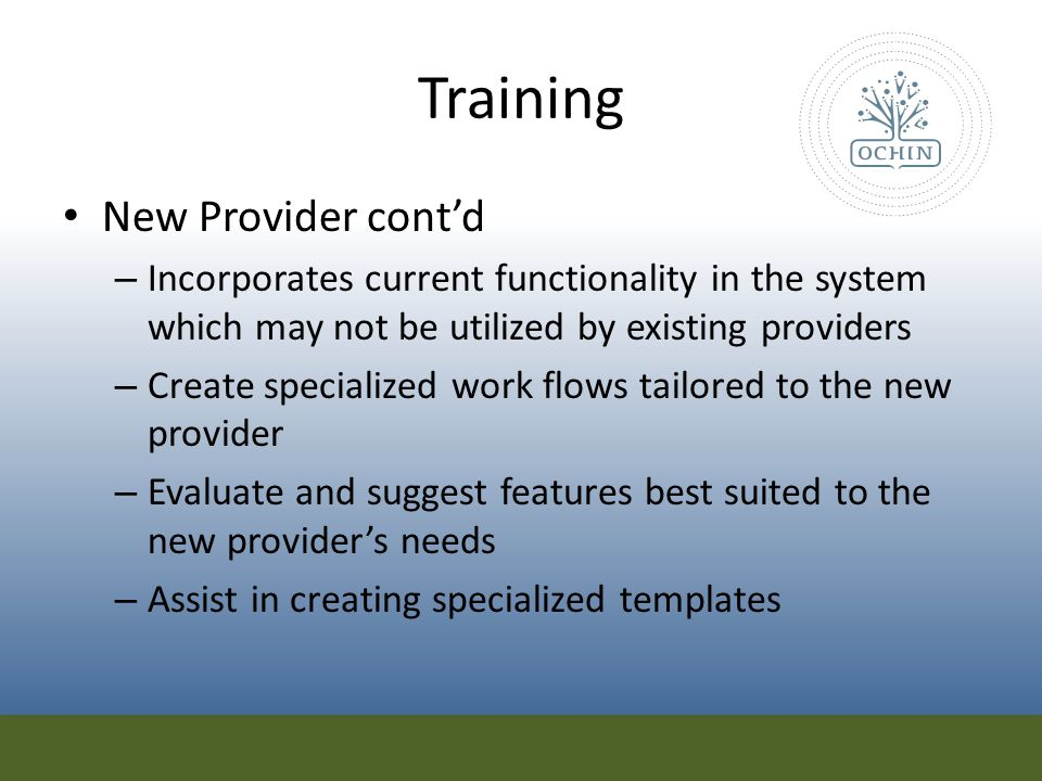 Training New Provider cont'd