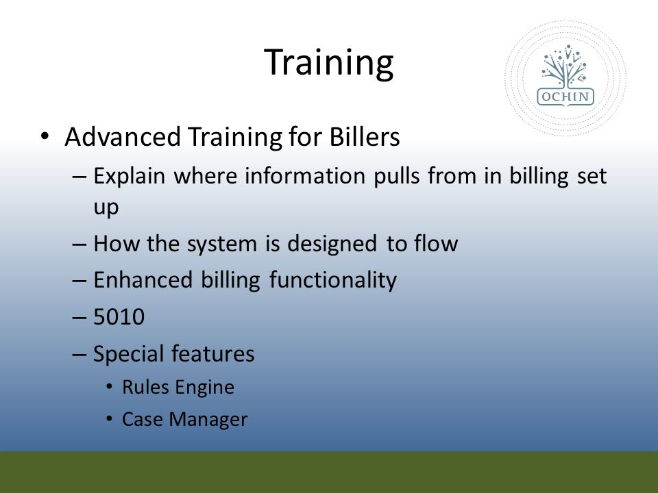 Training Advanced Training for Billers