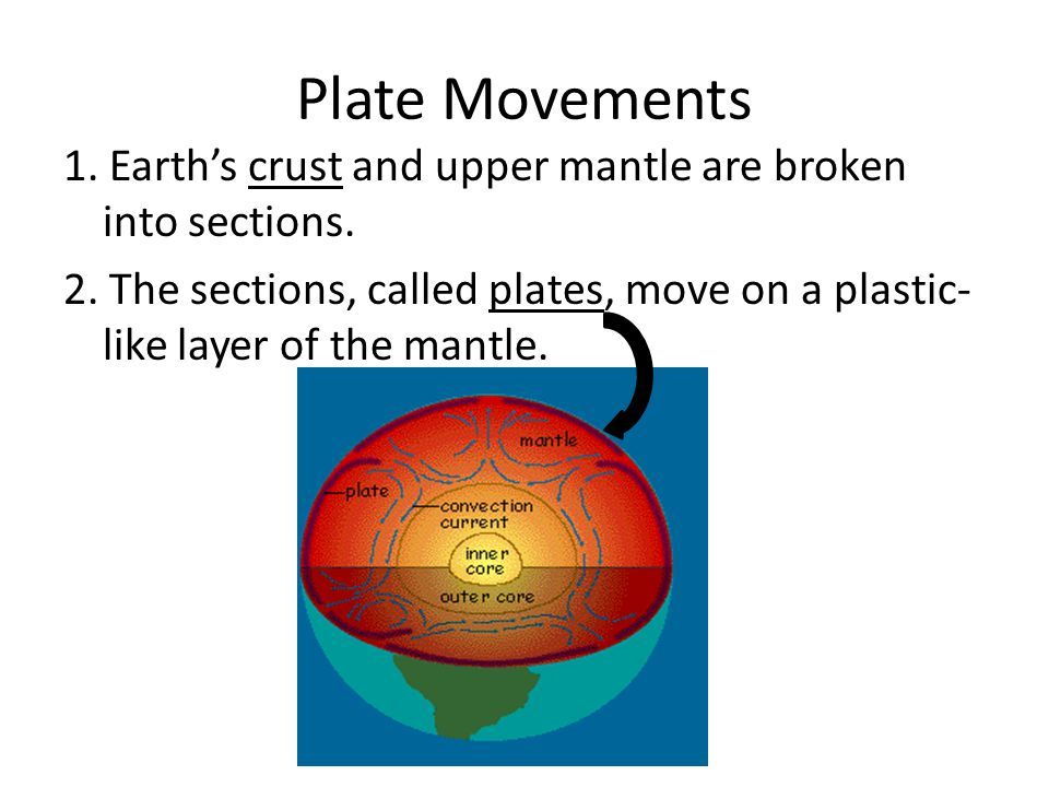 Plate Movements 1. Earth's crust and upper mantle are broken into sections.