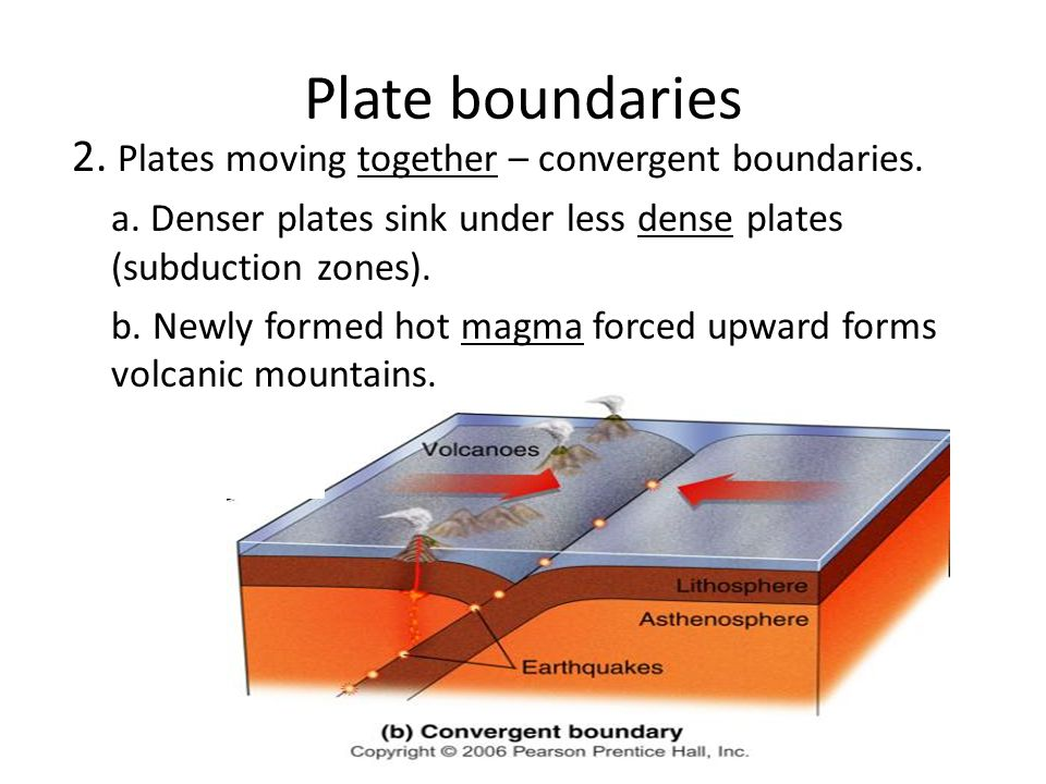 Plate boundaries 2. Plates moving together – convergent boundaries.
