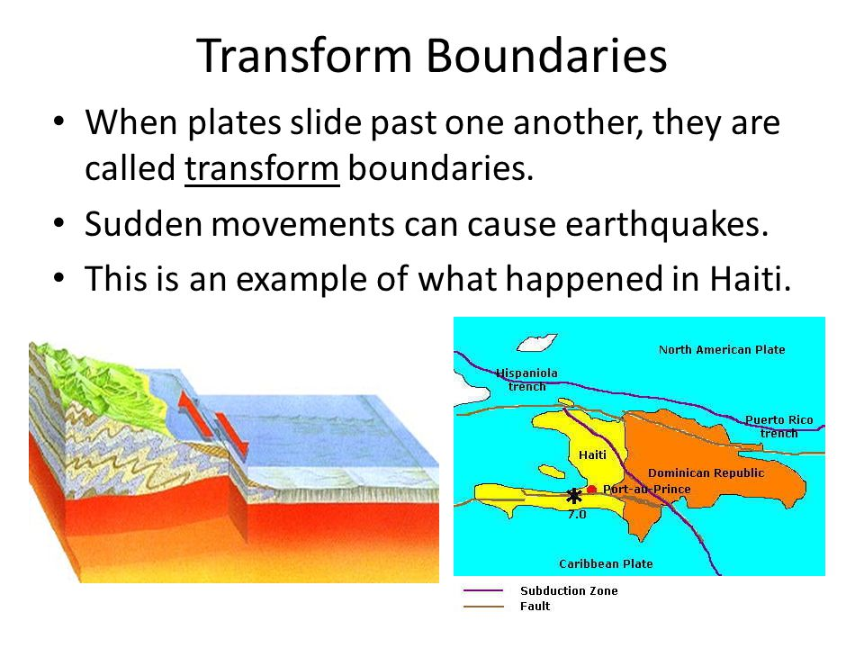 Transform Boundaries When plates slide past one another, they are called transform boundaries. Sudden movements can cause earthquakes.