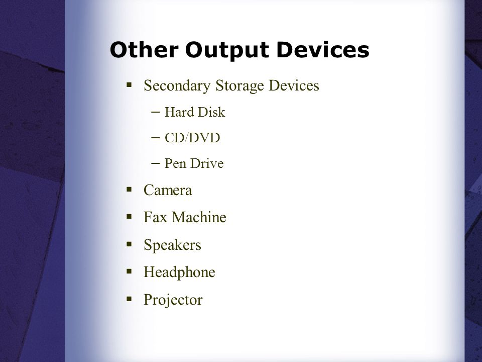 Other Output Devices Secondary Storage Devices Camera Fax Machine