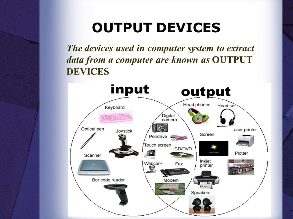 OUTPUT DEVICES The devices used in computer system to extract data from a computer are known as OUTPUT DEVICES.
