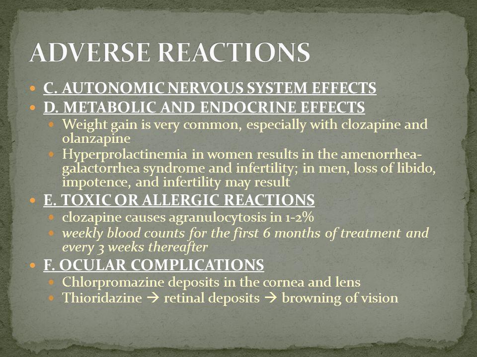 ADVERSE REACTIONS C. AUTONOMIC NERVOUS SYSTEM EFFECTS