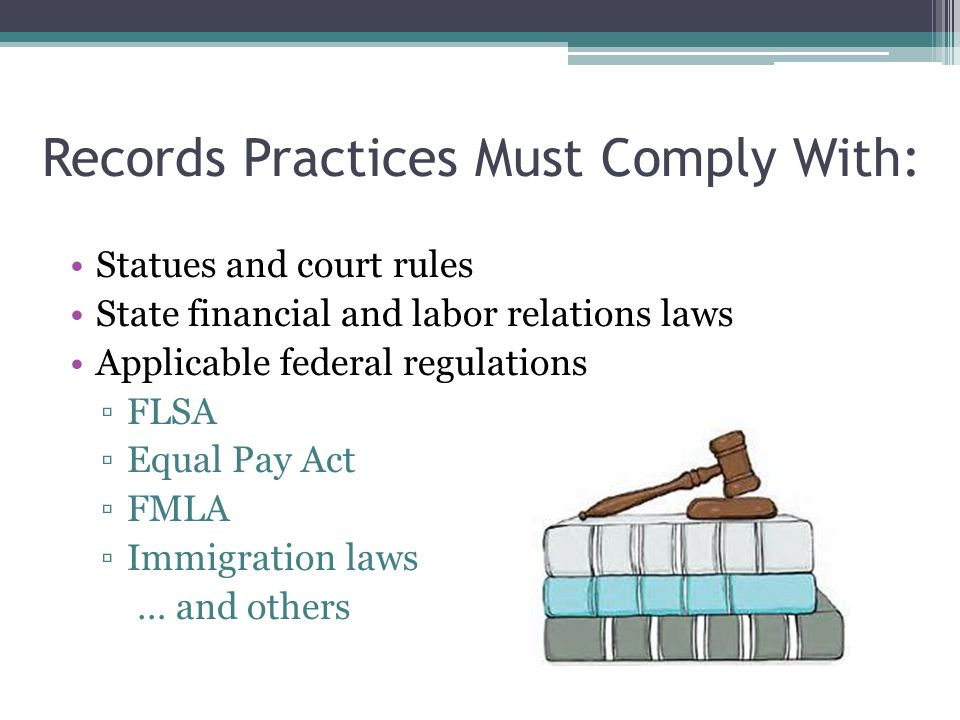 Records Practices Must Comply With: