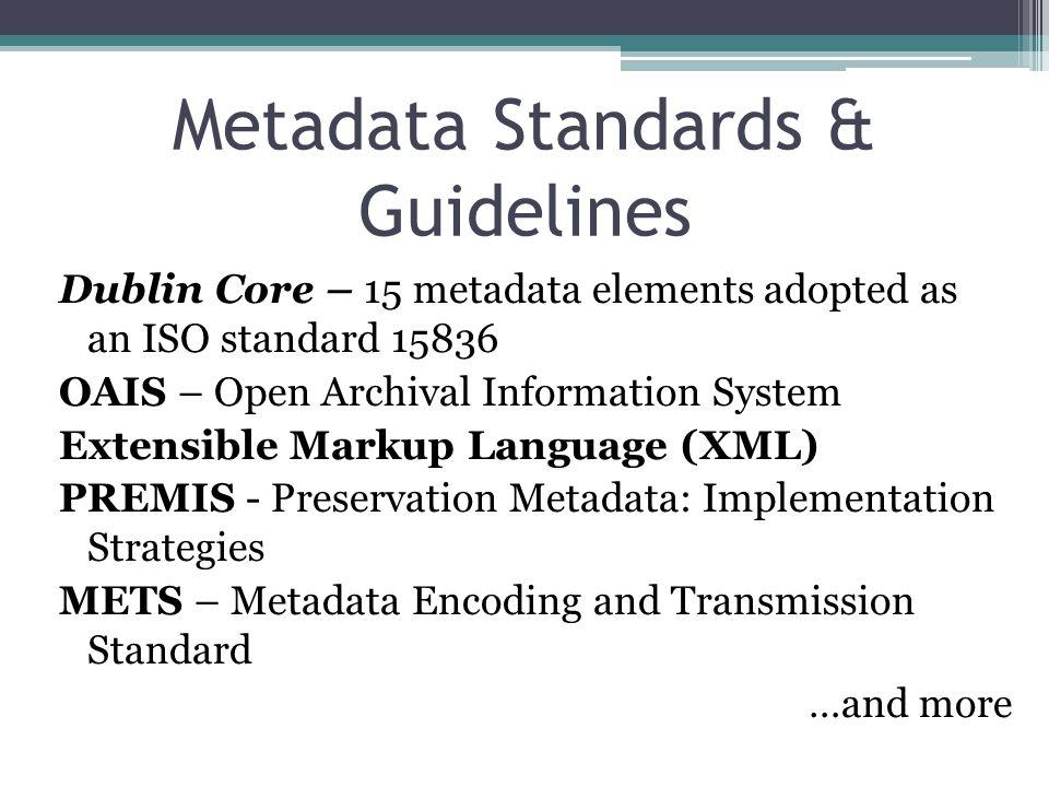 Metadata Standards & Guidelines