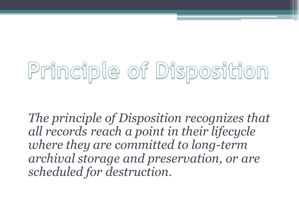 Principle of Disposition
