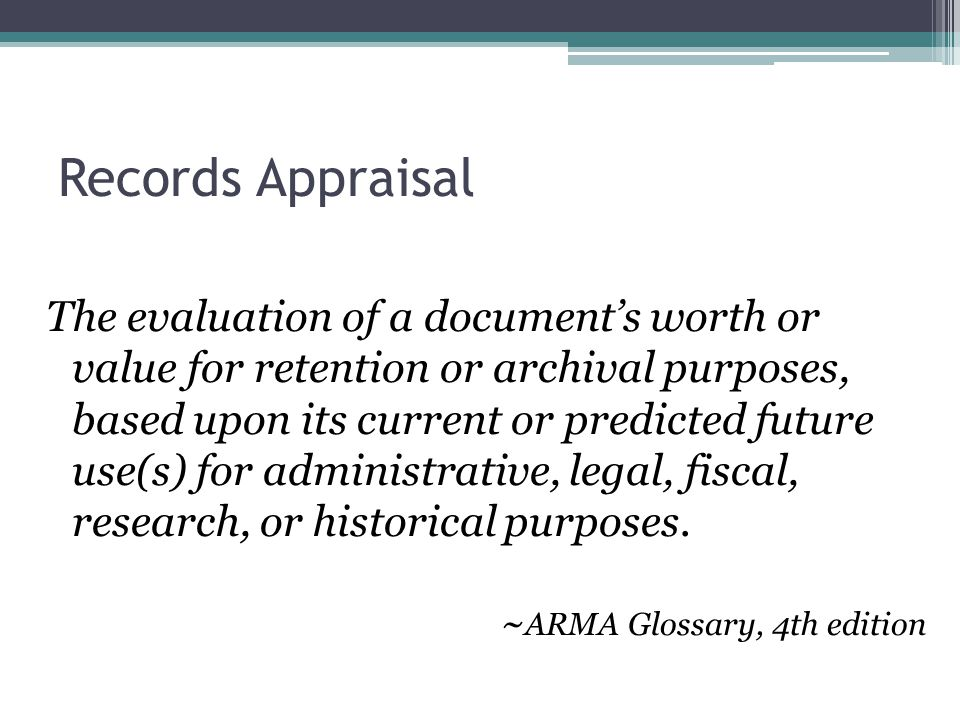 Records Appraisal