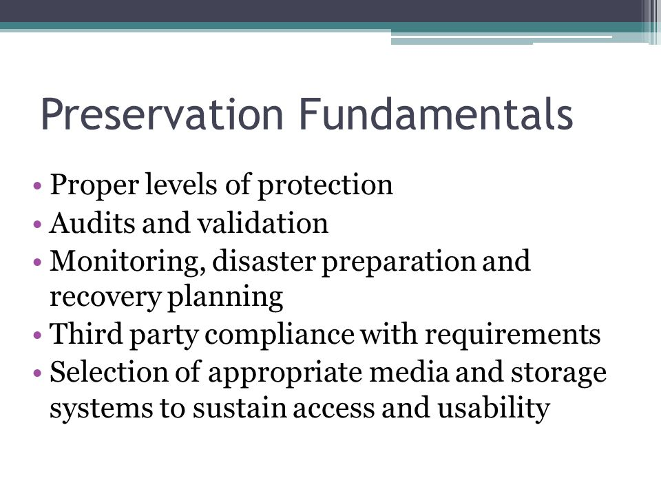 Preservation Fundamentals