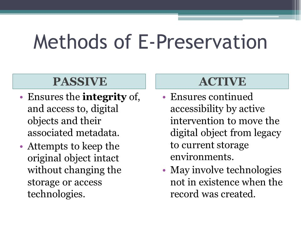 Methods of E-Preservation