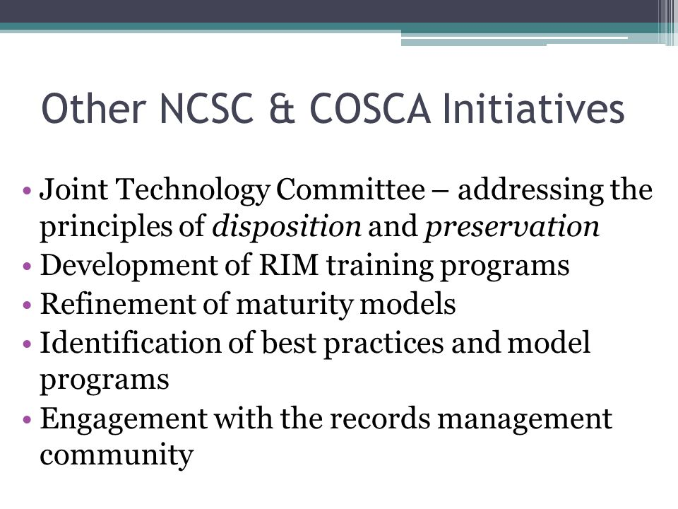 Other NCSC & COSCA Initiatives