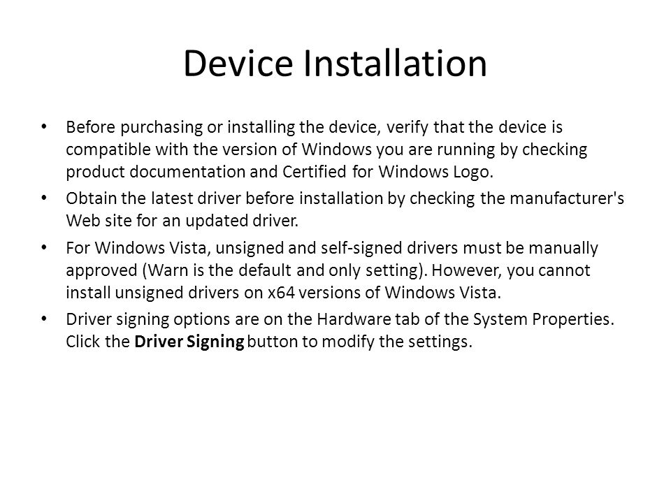Device Installation