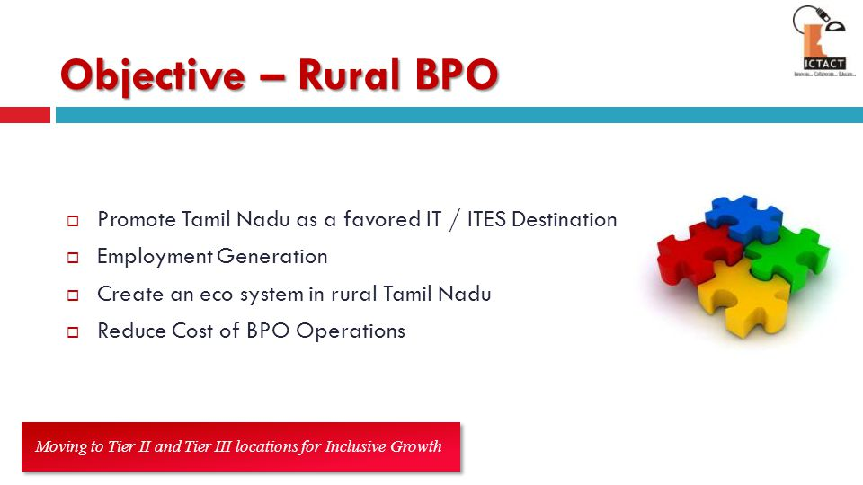 Objective – Rural BPO Promote Tamil Nadu as a favored IT / ITES Destination. Employment Generation.