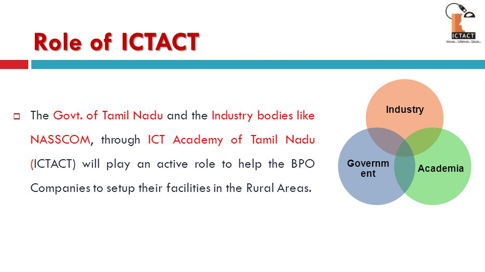 Role of ICTACT Industry. Academia. Government.