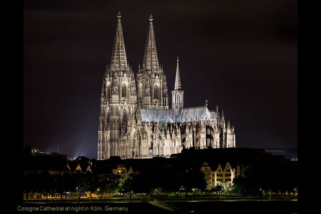 Cologne Cathedral at night in Köln, Germany