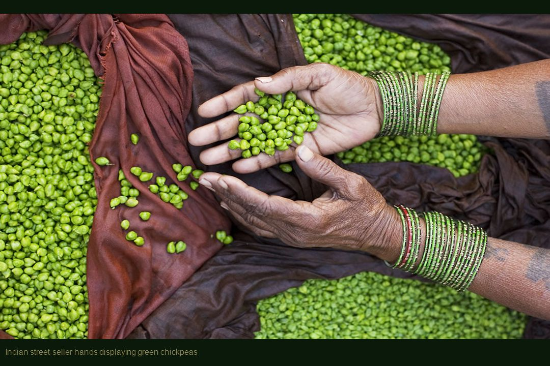 Indian street-seller hands displaying green chickpeas