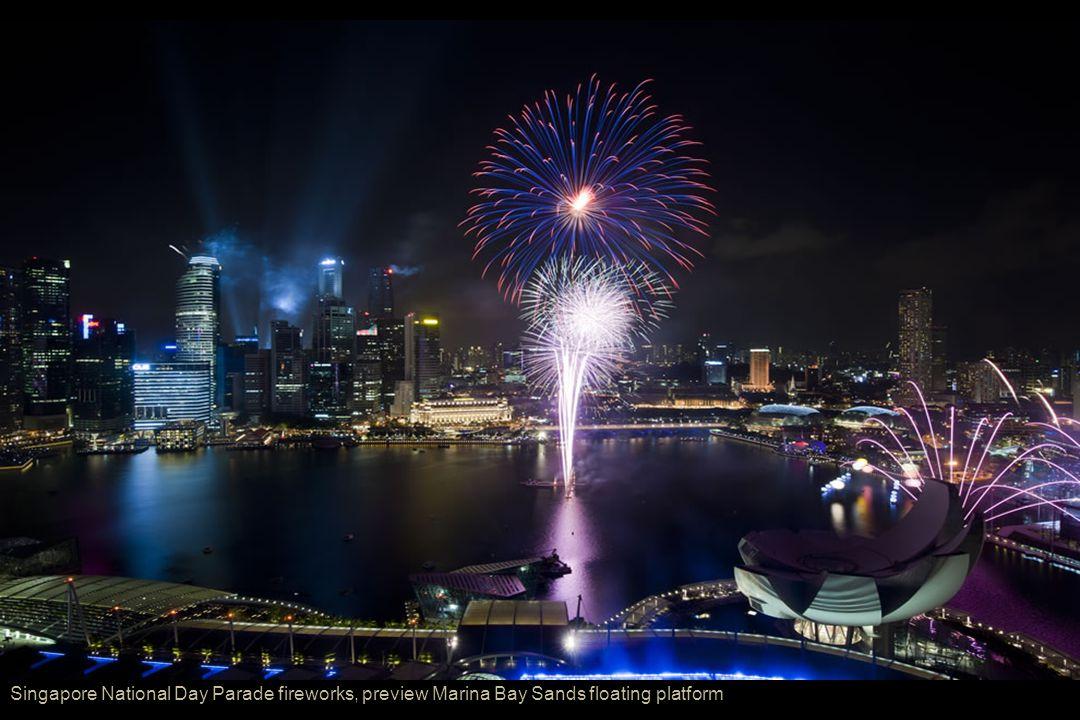 Singapore National Day Parade fireworks, preview Marina Bay Sands floating platform