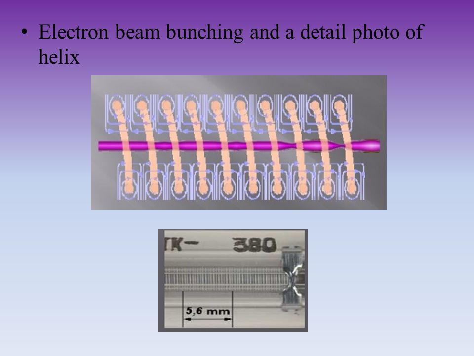 Electron beam bunching and a detail photo of helix