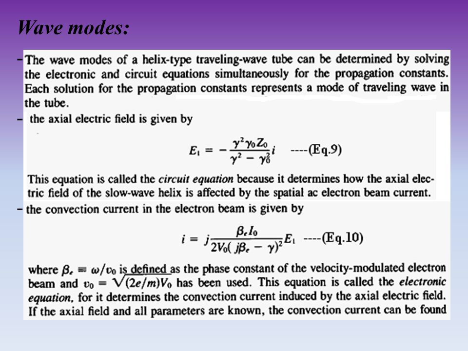 Wave modes: -