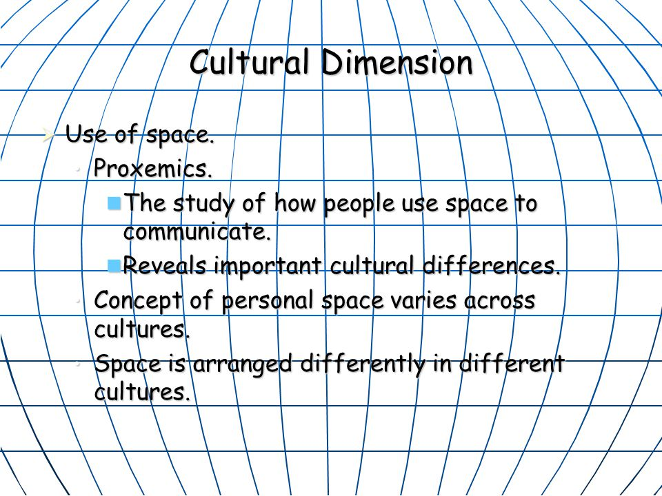 Cultural Dimension Use of space. Proxemics.