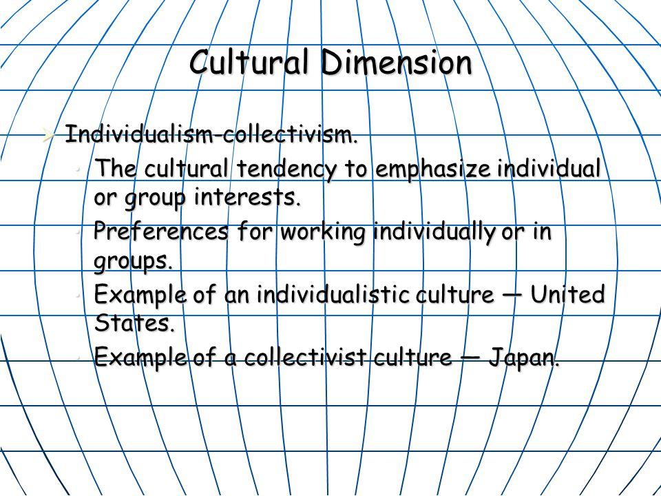 Cultural Dimension Individualism-collectivism.
