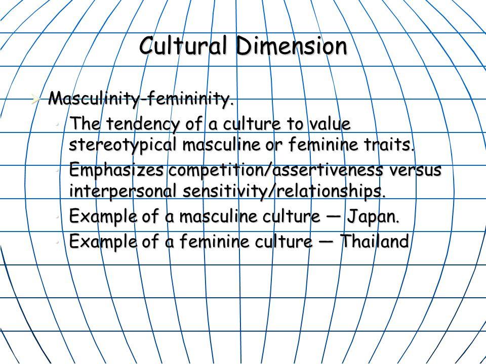 Cultural Dimension Masculinity-femininity.