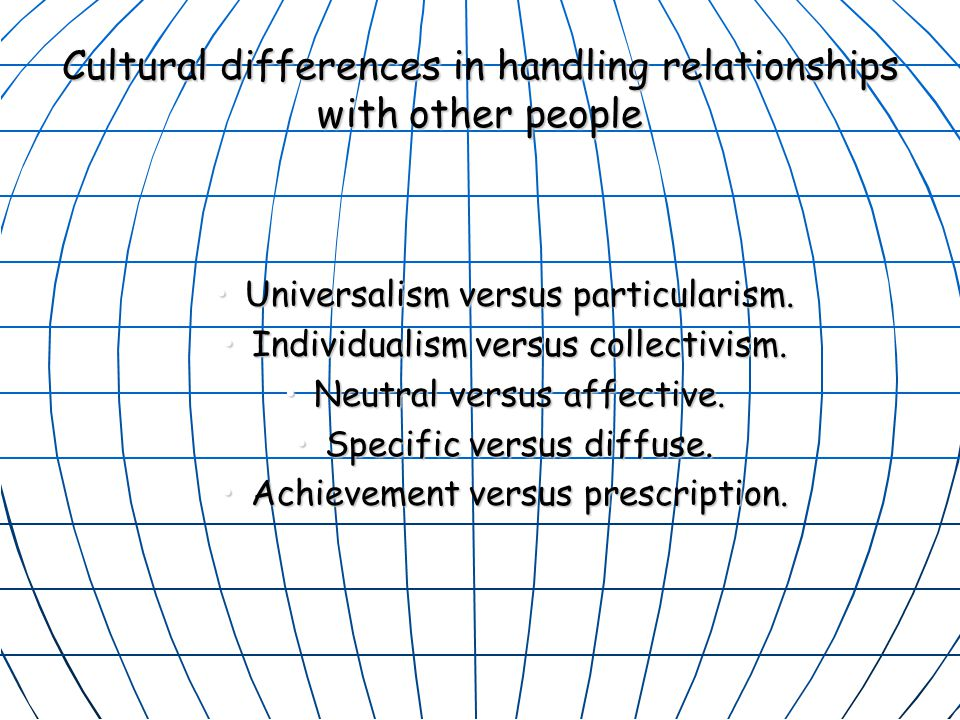 Cultural differences in handling relationships with other people