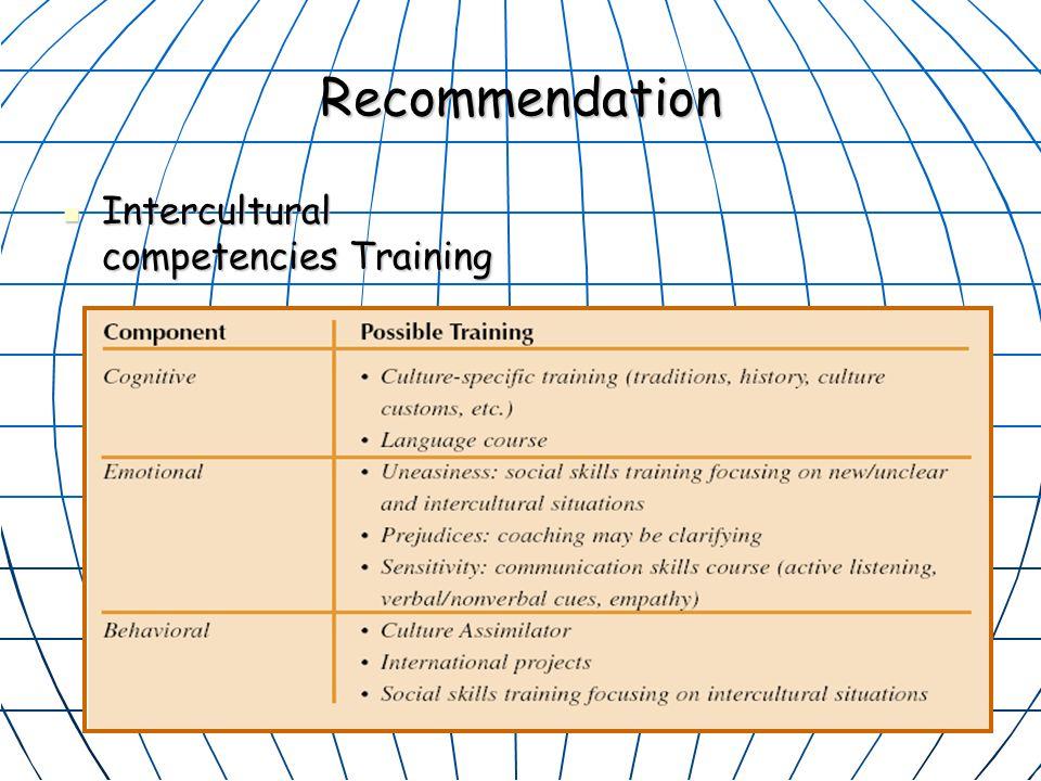 Recommendation Intercultural competencies Training