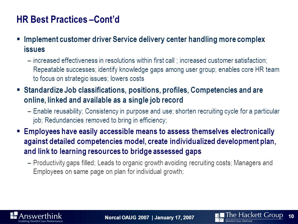 HR Best Practices –Cont'd