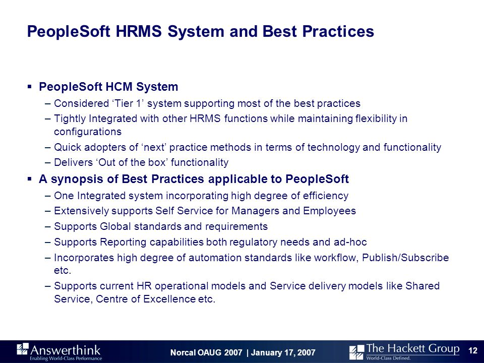 PeopleSoft HRMS System and Best Practices