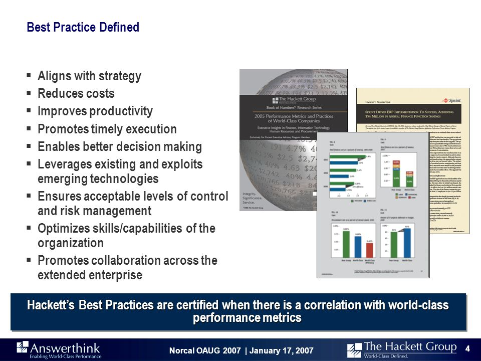 Best Practice Defined Aligns with strategy. Reduces costs. Improves productivity. Promotes timely execution.
