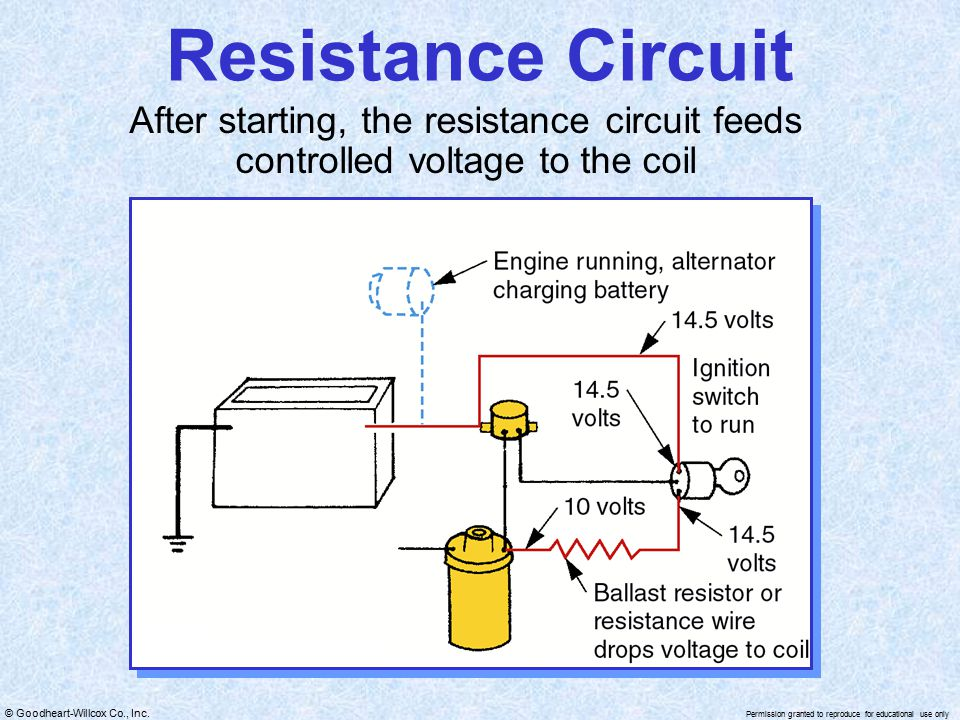 Resistance Circuit After starting, the resistance circuit feeds controlled voltage to the coil