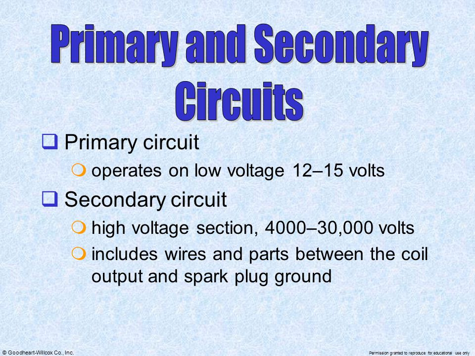 Primary and Secondary Circuits Primary circuit Secondary circuit