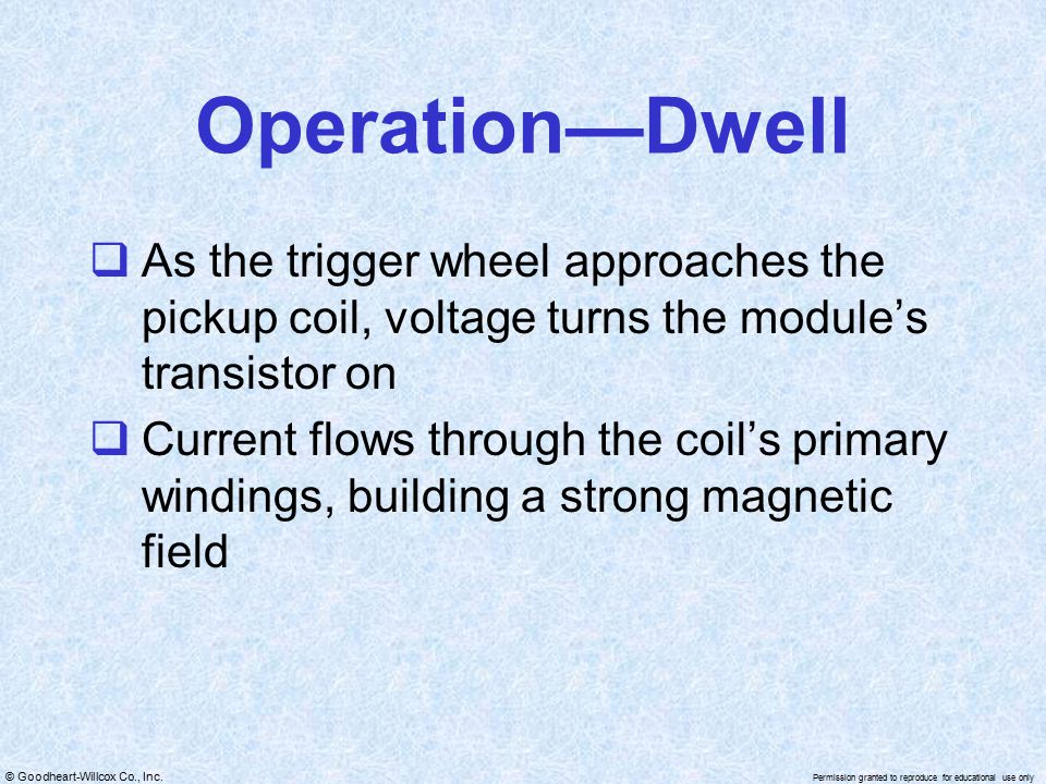 Operation—Dwell As the trigger wheel approaches the pickup coil, voltage turns the module's transistor on.