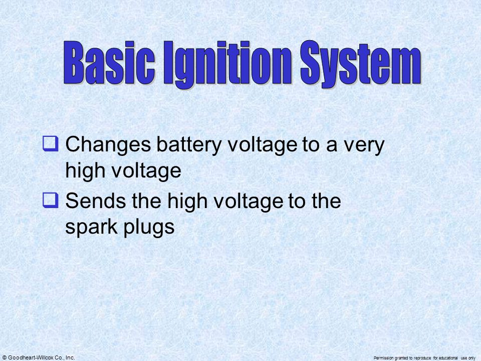 Basic Ignition System Changes battery voltage to a very high voltage