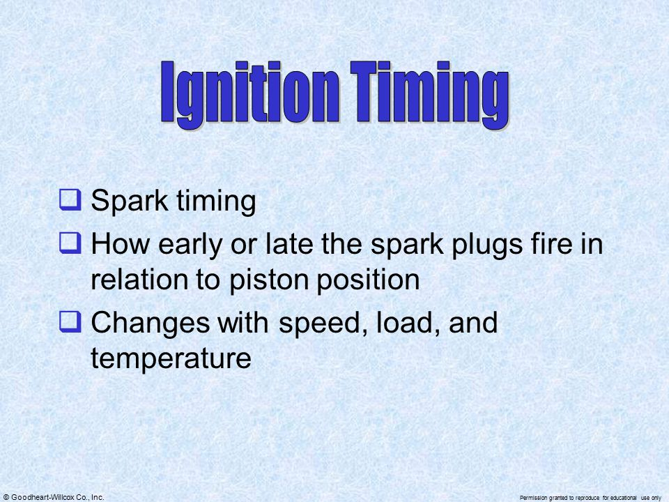 Ignition Timing Spark timing